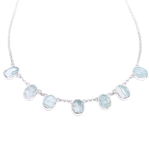 Aquamarine Gemstone Handmade Silver Ladies Necklace