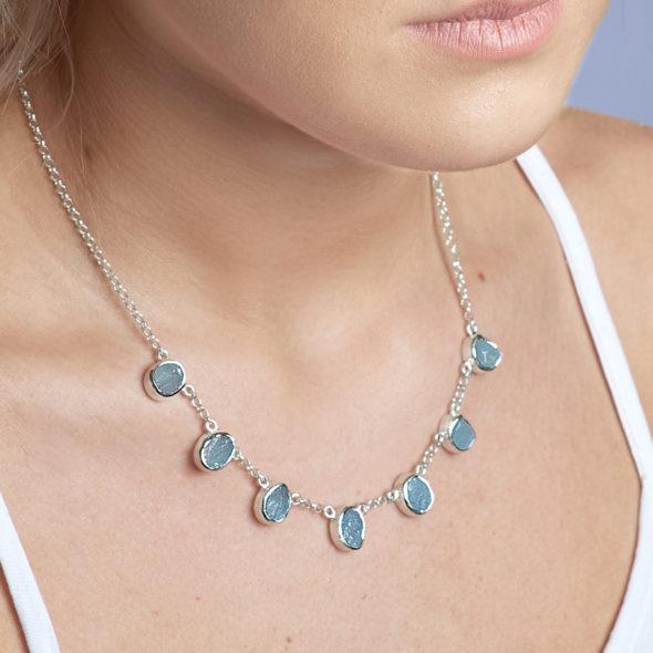 Aquamarine Gemstone Handmade Silver Ladies Necklace