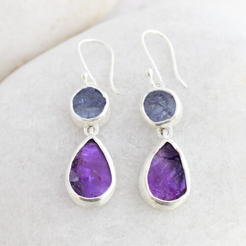 Amethyst and Tanzanite Gemstone Sterling Silver Ladies Earrings