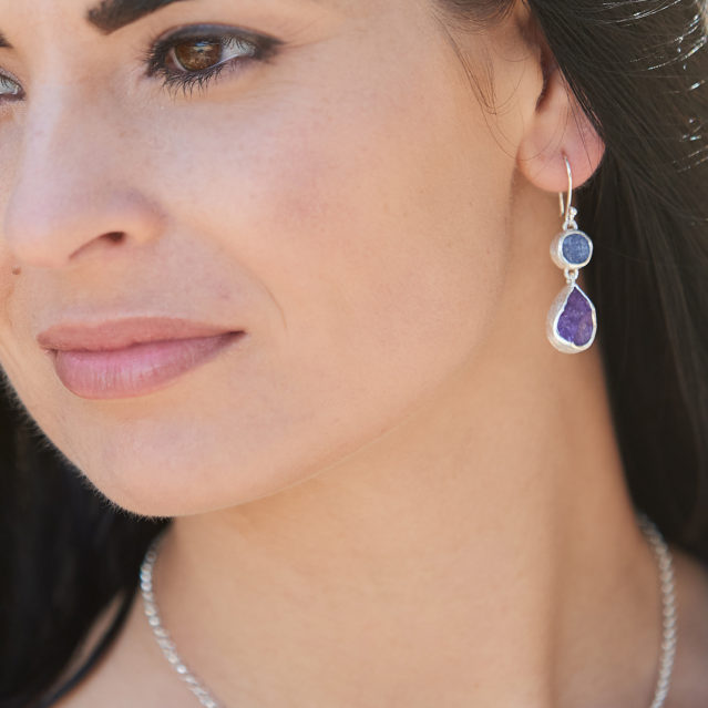 Amethyst and Tanzanite Gemstone Sterling Silver Ladies Earrings