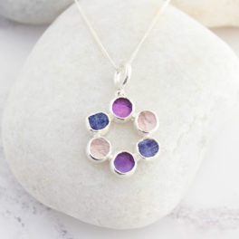 Amethyst, Tanzanite and Tourmaline Sterling Silver Ladies Pendant
