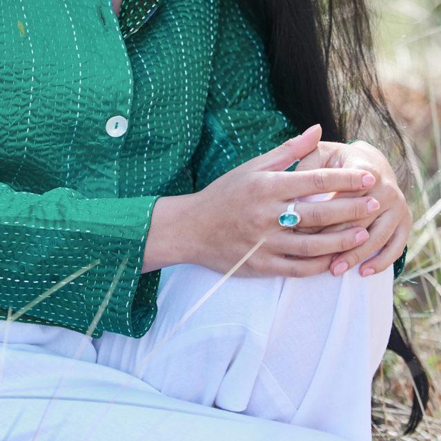 Apatite Gemstone Handmade Ladies Sterling Silver Ring