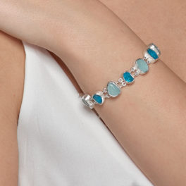 Aquamarine and Apatite Gemstone Handmade Sterling Silver Ladies Bracelet