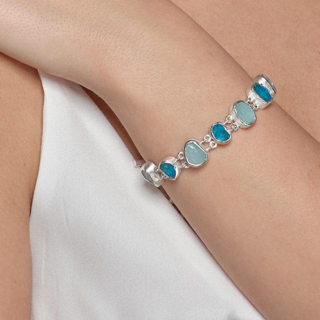 Aquamarine and Apatite Gemstone Handmade Sterling Silver Ladies Bracelet
