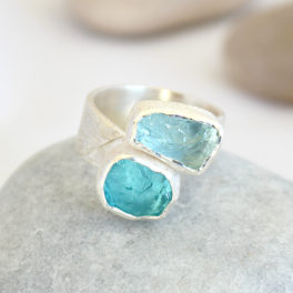 Aquamarine and Apatite Gemstone Ladies Adjustable Silver Ring