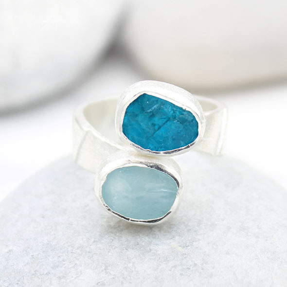 Aquamarine and Apatite Gemstone Ladies Adjustable Silver Ring