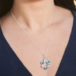 Aquamarine And Apatite Gemstone Sterling Silver Ladies Pendant