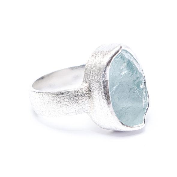 Aquamarine Handmade Gemstone Ladies Chunky Sterling Silver Ring