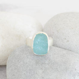 Aquamarine Handmade Gemstone Ladies Chunky Sterling Silver Ring