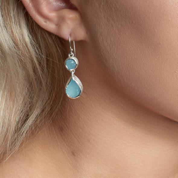 Handmade Aquamarine Gemstone Sterling Silver Ladies Earrings