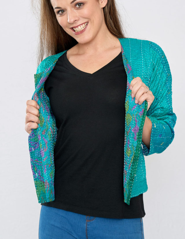 Emerald Green Hand Stitched Silk Sari Ladies Jacket