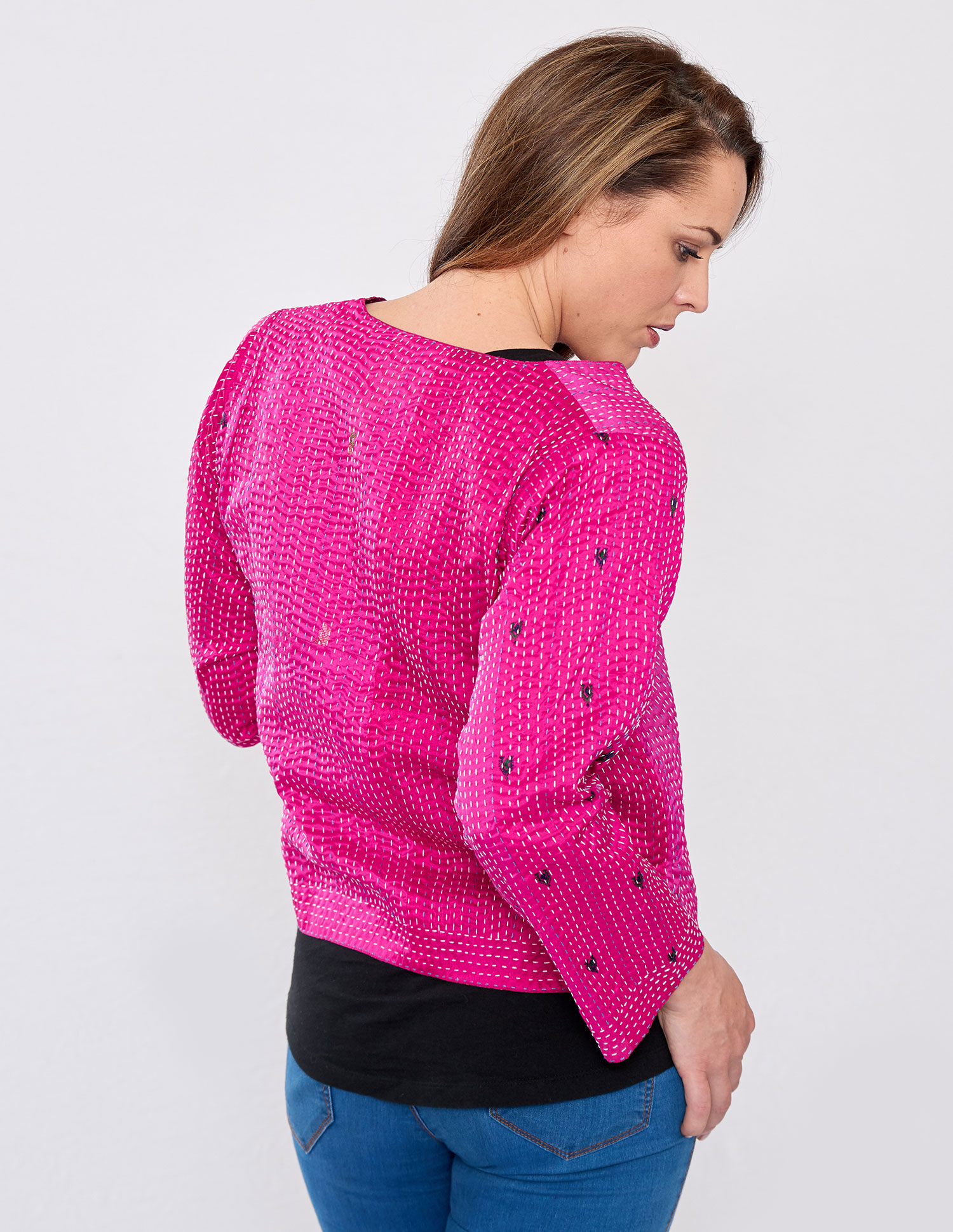 Hot Pink Hand Stitched Recycled Silk Sari Ladies Jacket