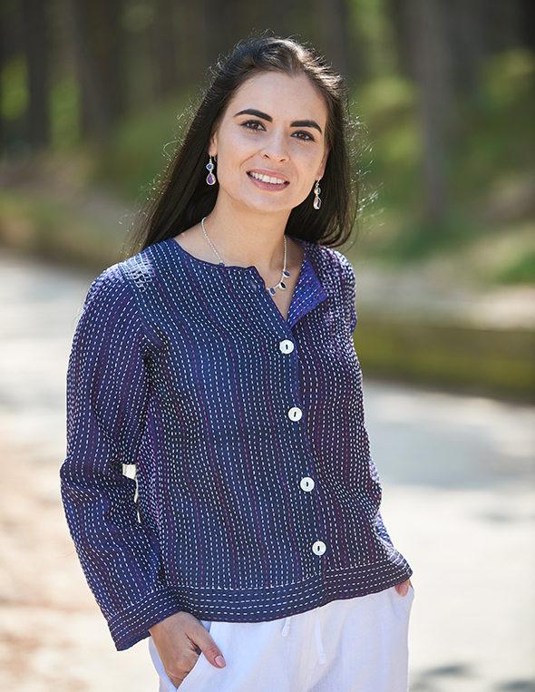 Purple Hand Stitched Recycled Silk Sari Ladies Jacket
