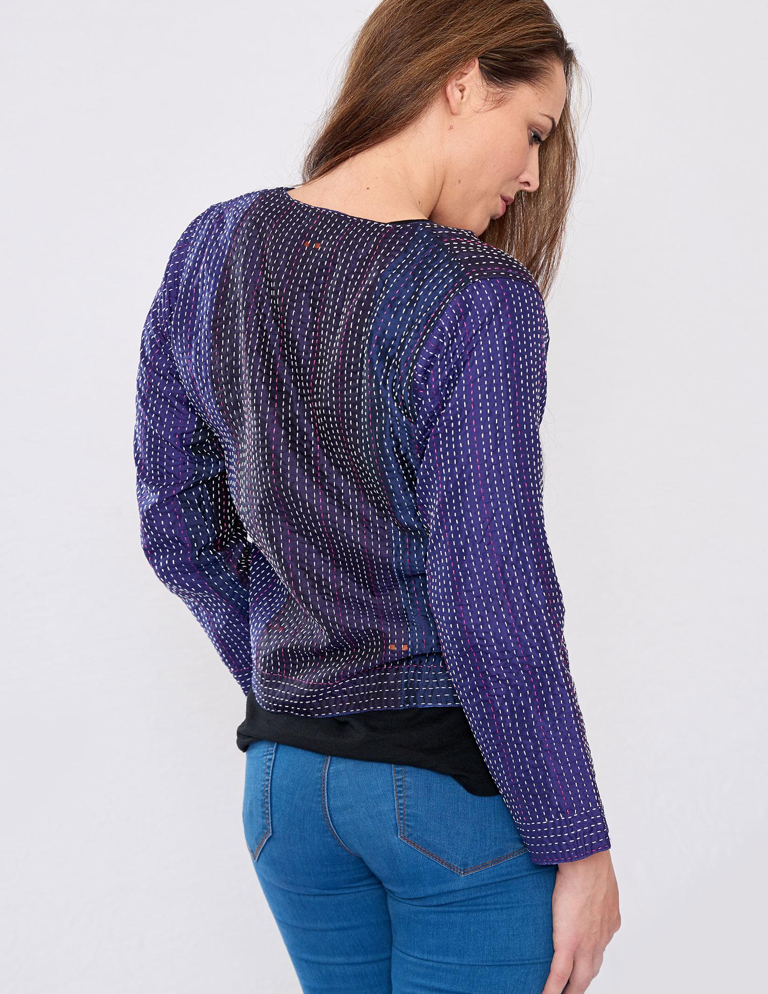 Purple Hand Stitched Silk Sari Ladies Jacket