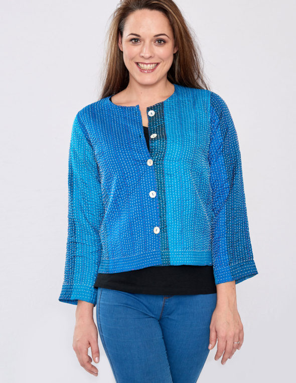 Deep Turquoise Hand Stitched Silk Sari Ladies Jacket