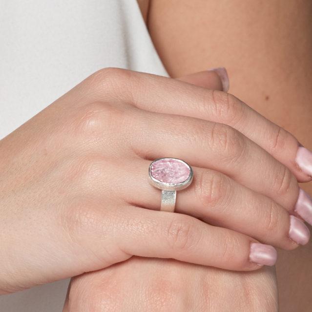 Morganite Gemstone Handmade Ladies Sterling Silver Ring