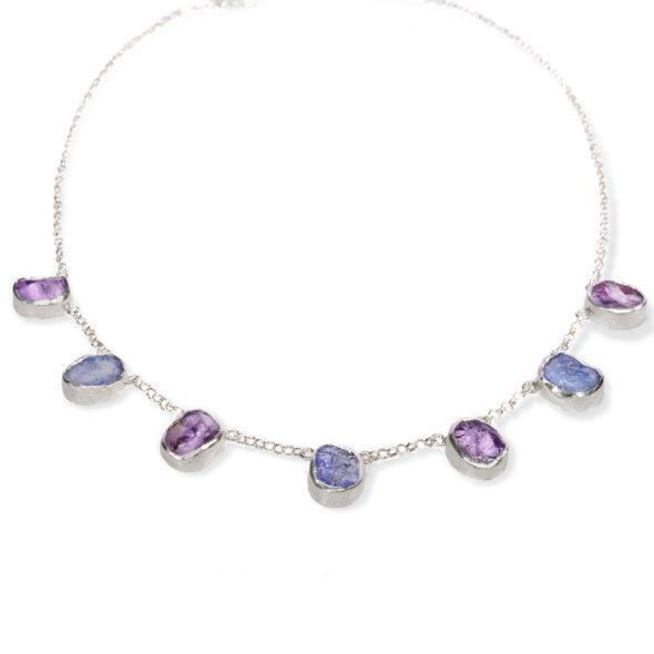 Amethyst and Tanzanite Gemstone Handmade Silver Ladies Necklace