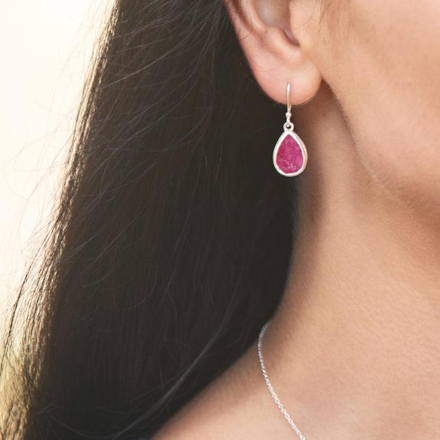Ruby Gemstone Handmade Sterling Silver Ladies Earrings