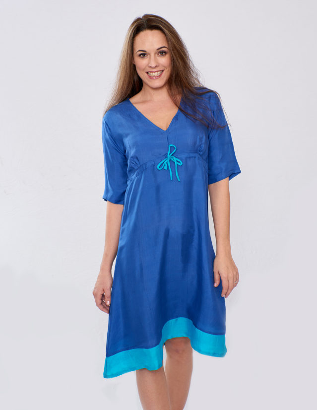 Pure Silk Lapis Blue & Turquoise Ladies Dress