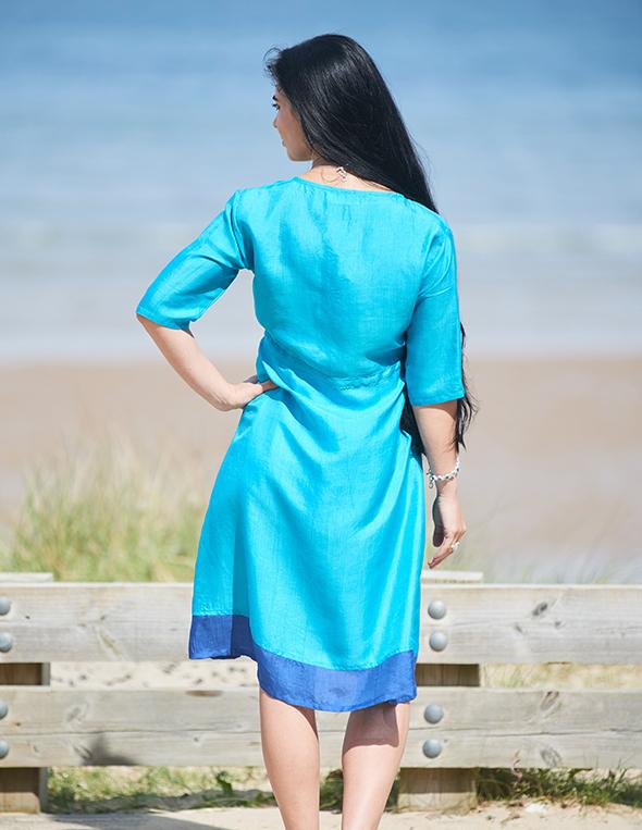 Artisan Pure Silk Turquoise & Lapis Ladies Dress