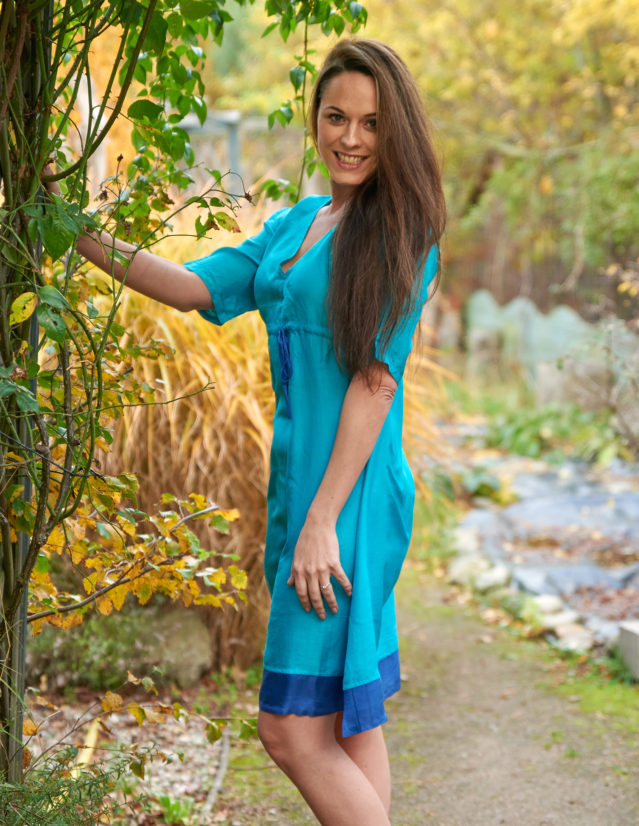 Pure Silk Turquoise & Lapis Ladies Dress
