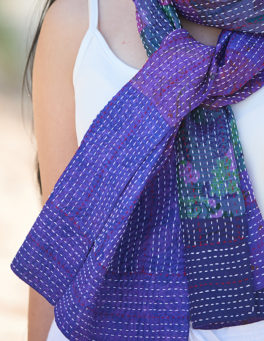 Purple Hand Stitched Pure Silk Reversible Scarf