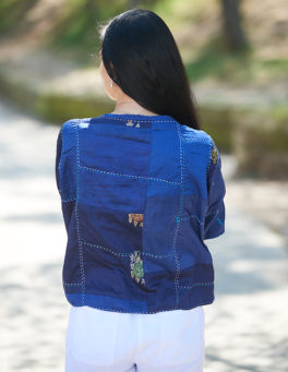 Rich Blue Hand Stitched Recycled Silk Sari Cover-up