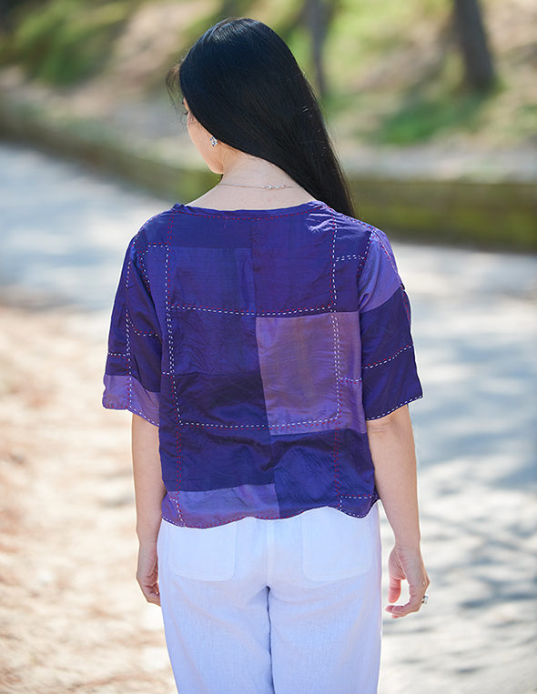 Purple Hand Stitched Recycled Silk Sari Cover-up