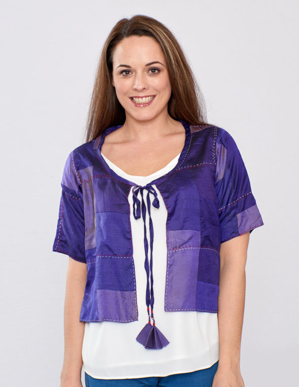 Purple Pure Silk Hand Stitched Cover Up