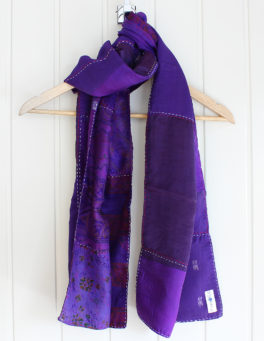 Purple Hand Stitched Pure Silk Scarf