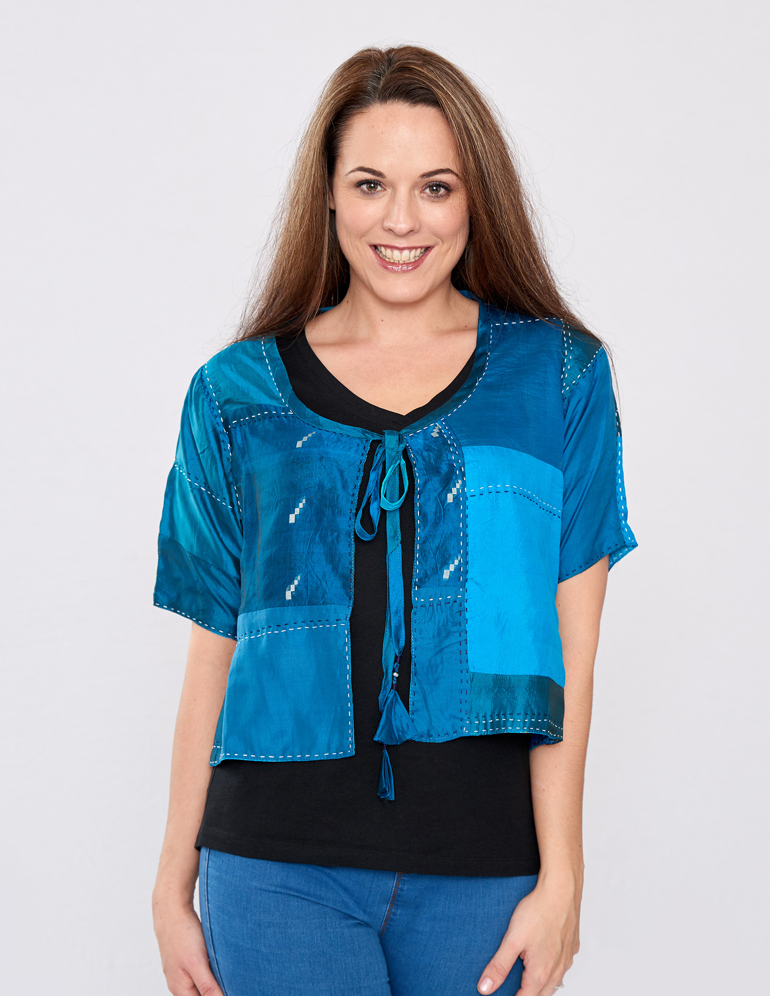 Teal Pure Silk Hand Stitched Ladies Cover-up
