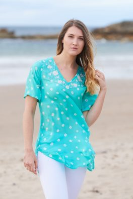 Aquamarine Poppy Embroidered Silk Tunic Dress Short