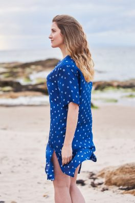 Ocean Blue Silk Shirt Dress Tunic Midi