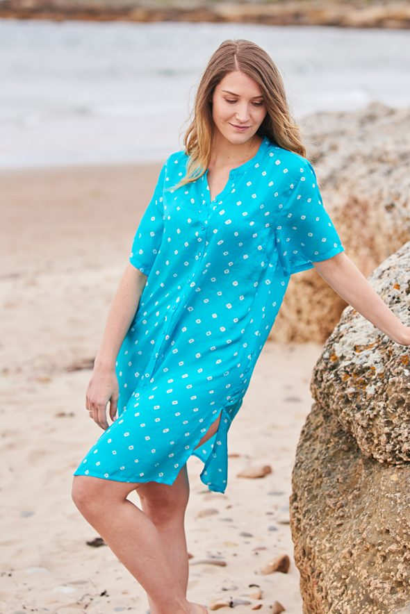 Turquoise Silk Hand Tie Dyed Shirt Dress