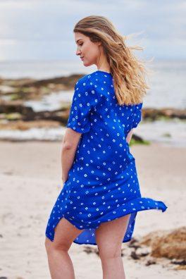 Ultramarine Blue Poppy Embroidered Silk Tunic Dress Midi