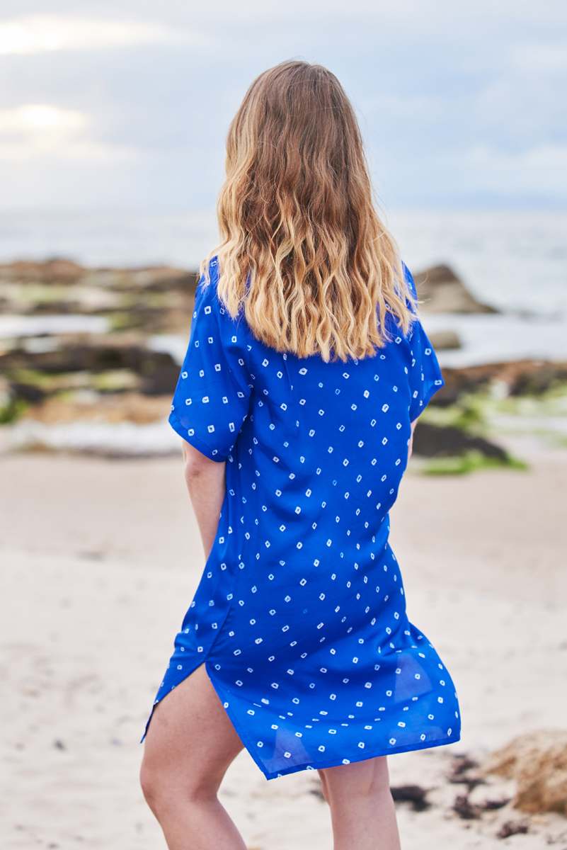 Ultramarine Blue Silk Shirt Dress Tunic Midi