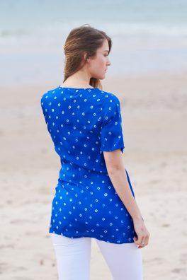 Aquamarine Poppy Embroidered Silk Tunic Dress Short