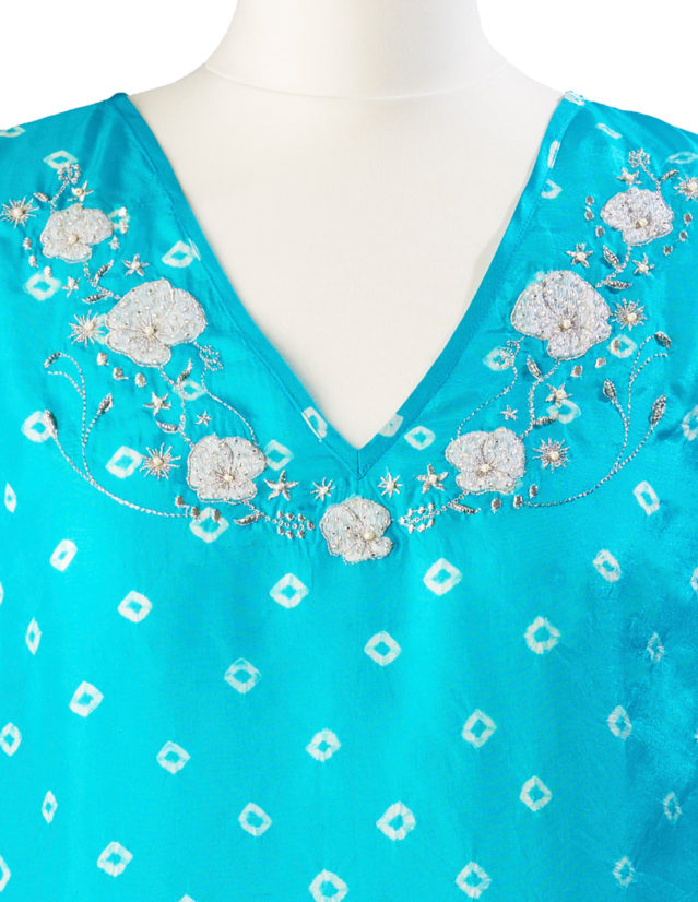 Turquoise Poppy Embroidered Silk Tunic Dress Short