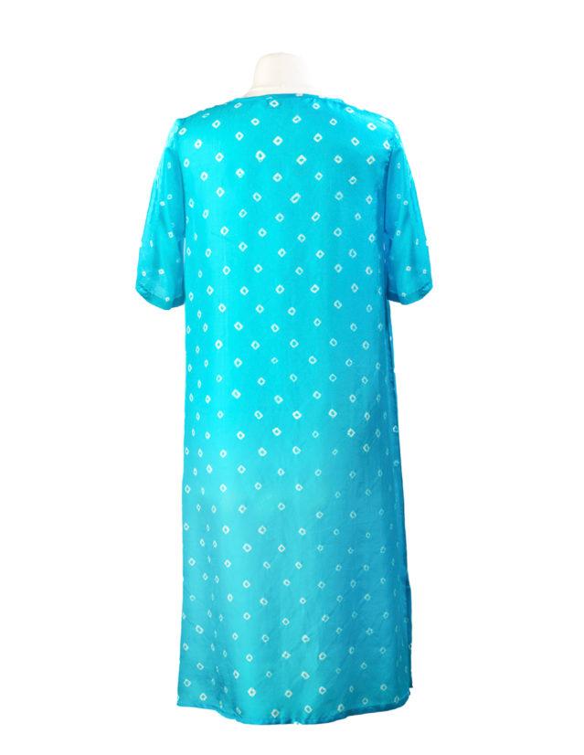 Turquoise Poppy Embroidered Silk Tunic Dress Midi