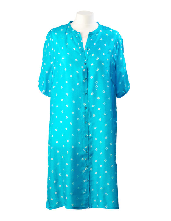 Turquoise Silk Shirt Dress Tunic Midi