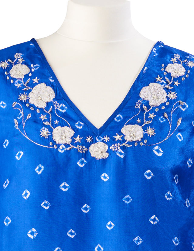 Ultramarine Poppy Embroidered Silk Tunic Dress Short