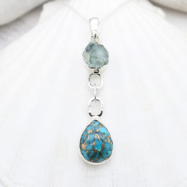 Aquamarine And Blue Copper Turquoise Gemstone Silver Pendant