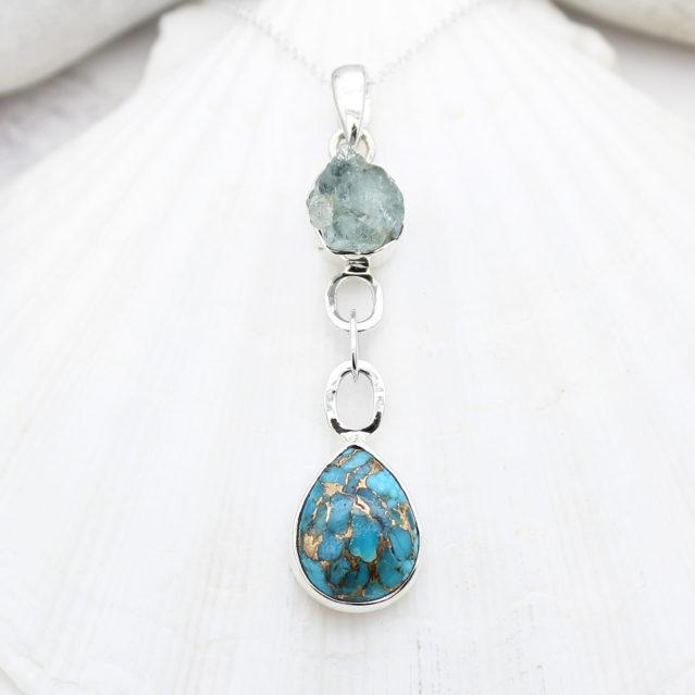 Aquamarine And Blue Copper Turquoise Gemstone Silver Pendant
