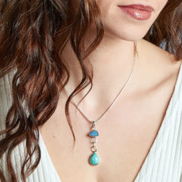Blue Opal And Tibetan Turquoise Gemstone Silver Pendant