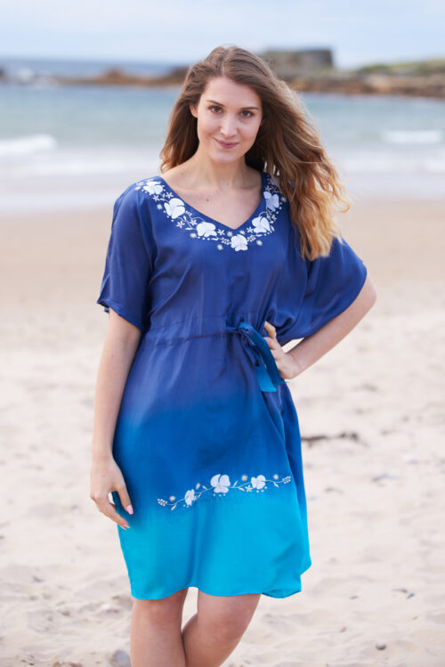Blue Ombre Poppy Embroidered Silk Kaftan