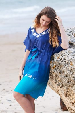 Ocean Ombre Poppy Embroidered Silk Kaftan