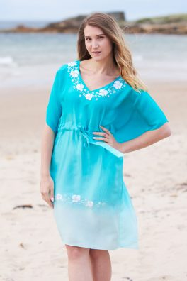 Jade Green Ombre Poppy Embroidered Silk Kaftan