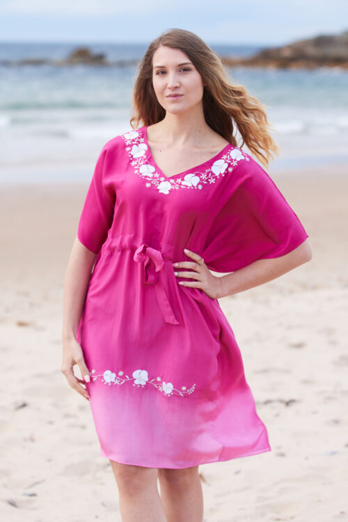 Pink Ombre Poppy Embroidered Silk Kaftan