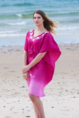Hot Pink Ombre Poppy Embroidered Silk Kaftan