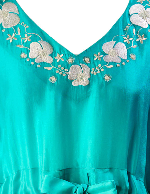 Jade Green Ombre Poppy Embroidered Silk Kaftan